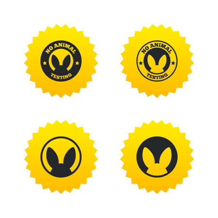 yellow lab: No animals testing icons. Non-human experiments signs symbols. Yellow stars labels with flat icons. Vector