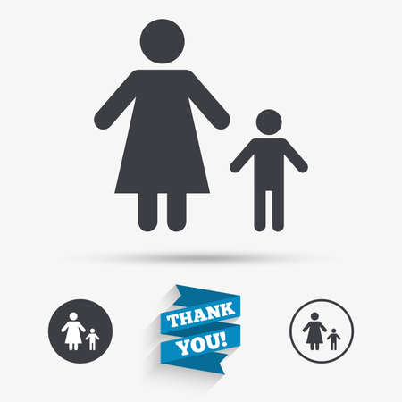 family with one child: One-parent family with one child sign icon. Mother with son symbol. Flat icons. Buttons with icons. Thank you ribbon. Vector