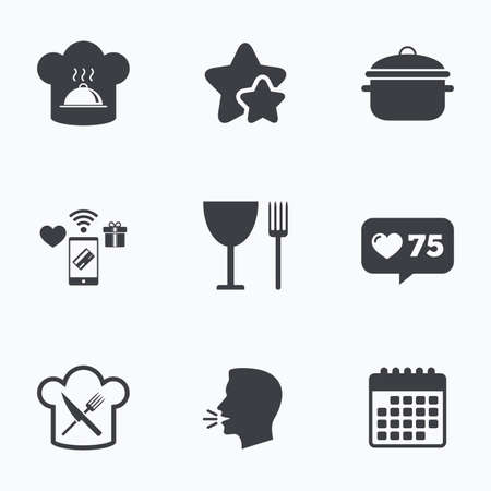 crosswise: Chief hat and cooking pan icons. Crosswise fork and knife signs. Boil or stew food symbols. Flat talking head, calendar icons. Stars, like counter icons. Vector Illustration
