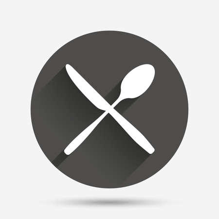 crosswise: Eat sign icon. Cutlery symbol. Knife and spoon crosswise. Circle flat button with shadow. Vector