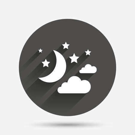 bed time: Moon, clouds and stars icon. Sleep dreams symbol. Night or bed time sign. Circle flat button with shadow. Vector
