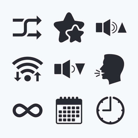 quieter: Player control icons. Sound louder and quieter signs. Dynamic symbol. Shuffle random and repeat loop. Wifi internet, favorite stars, calendar and clock. Talking head. Vector Illustration