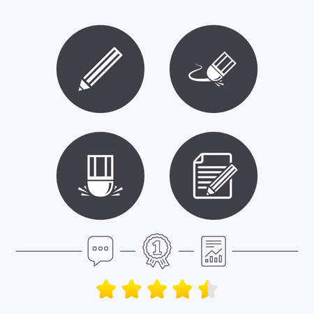 file folder: Pencil icon. Edit document file. Eraser sign. Correct drawing symbol. Chat, award medal and report linear icons. Star vote ranking. Vector