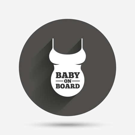 big breast: Pregnant woman shirt sign icon. Baby on board. Maternity symbol Circle flat button with shadow. Vector