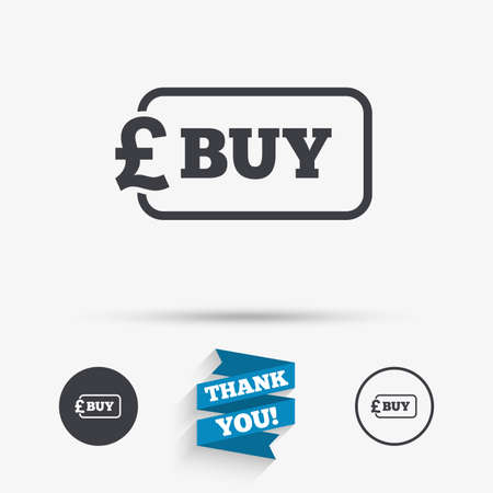Buy sign icon. Online buying Pound gbp button. Flat icons. Buttons with icons. Thank you ribbon. Vector  イラスト・ベクター素材