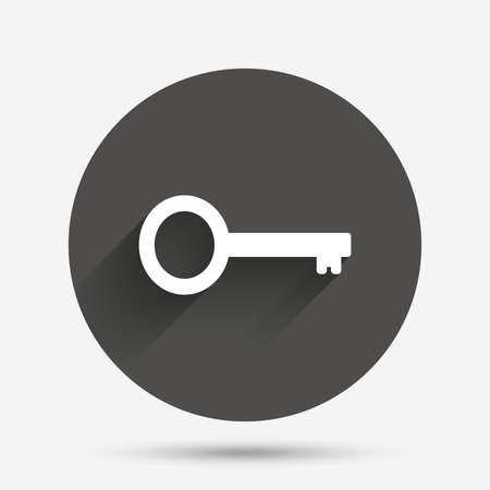 Key sign icon. Unlock tool symbol. Circle flat button with shadow. Vector Banque d'images - 111101687