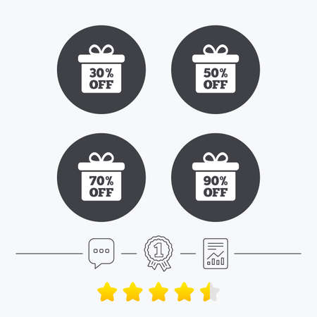 Sale gift box tag icons. Discount special offer symbols. 30%, 50%, 70% and 90% percent off signs. Chat, award medal and report linear icons. Star vote ranking. Vector
