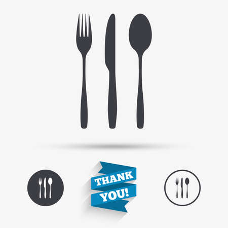 Fourchette, couteau, icône de signe de cuillère à soupe. Symbole de jeu de collection de couverts. Icônes plates. Boutons avec des icônes. Merci ruban. Vecteur