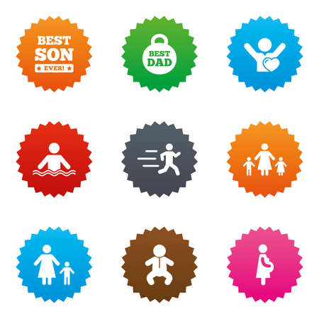People, family icons. Swimming, baby and pregnant woman signs. Best dad, runner and fan symbols. Stars label button with flat icons. Vector