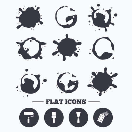Paint, coffee or milk splash blots. Paint roller, brush icons. Spray can and Spatula signs. Wall repair tool and painting symbol. Smudges splashes drops. Vector Stock Vector - 111101698