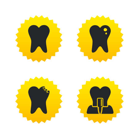 stomatologist: Dental care icons. Caries tooth sign. Tooth endosseous implant symbol. Yellow stars labels with flat icons. Vector