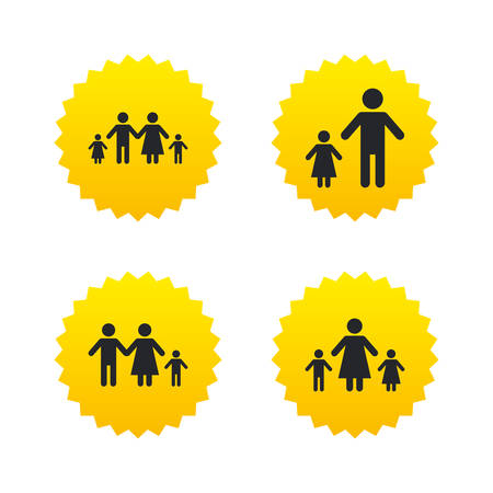 orphan: Family with two children icon. Parents and kids symbols. One-parent family signs. Mother and father divorce. Yellow stars labels with flat icons. Vector