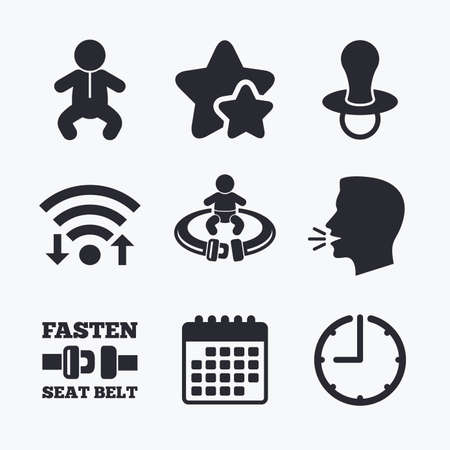 baby toilet seat: Baby infants icons. Toddler boy with diapers symbol. Fasten seat belt signs. Child pacifier and pram stroller. Wifi internet, favorite stars, calendar and clock. Talking head. Vector