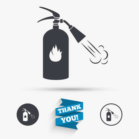 alert ribbon: Fire extinguisher sign icon. Fire safety symbol. Flat icons. Buttons with icons. Thank you ribbon. Vector