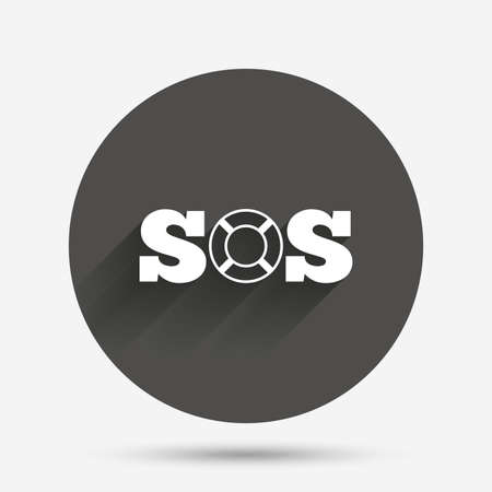 SOS sign icon. Lifebuoy symbol. Circle flat button with shadow. Vector