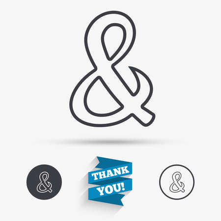 Ampersand sign icon. Programming logical operator AND. Wedding invitation symbol. Flat icons. Buttons with icons. Thank you ribbon. Vector