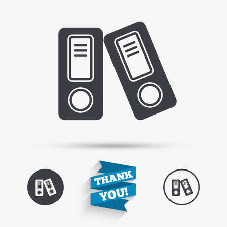 Document folder sign. Accounting binder symbol. Bookkeeping management. Flat icons. Buttons with icons. Thank you ribbon. Vector Ilustrace