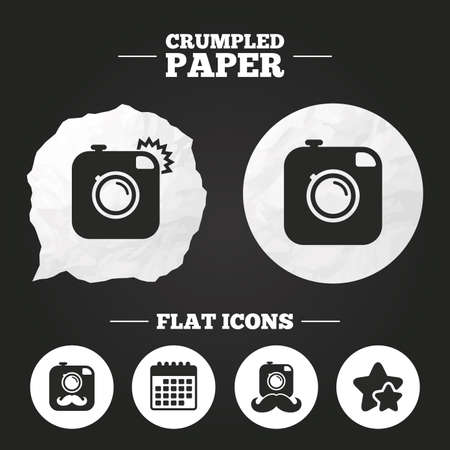 Crumpled paper speech bubble. Hipster photo camera with mustache icons. Retro camera symbols. Paper button. Vector Illustration