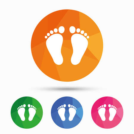 Child pair of footprint sign icon. Toddler barefoot symbol. Triangular low poly button with flat icon. Vector Illustration