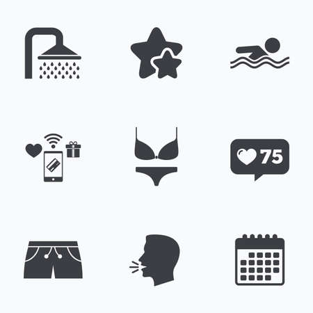 Swimming pool icons. Shower water drops and swimwear symbols. Human swims in sea waves sign. Trunks and women underwear. Flat talking head, calendar icons. Stars, like counter icons. Vector Illustration