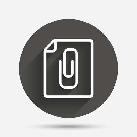 File annex icon. Paper clip symbol. Attach symbol. Circle flat button with shadow. Vector