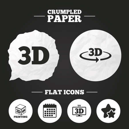 Crumpled paper speech bubble. 3d technology icons. Printer, rotation arrow sign symbols. Print cube. Paper button. Vector