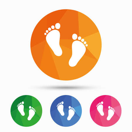 Child pair of footprint sign icon. Toddler barefoot symbol. Baby's first steps. Triangular low poly button with flat icon. Vector
