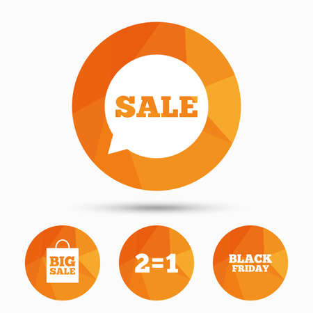 Sale speech bubble icons. Two equals one. Black friday sign. Big sale shopping bag symbol. Triangular low poly buttons with shadow. Vector Stock Vector - 111101740
