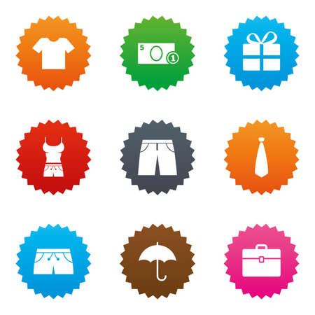 Clothing, accessories icons. T-shirt, business case signs. Umbrella and gift box symbols. Stars label button with flat icons. Vector Ilustrace