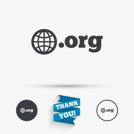 Domain ORG sign icon. Top-level internet domain symbol with globe. Flat icons. Buttons with icons. Thank you ribbon. Vector Ilustração