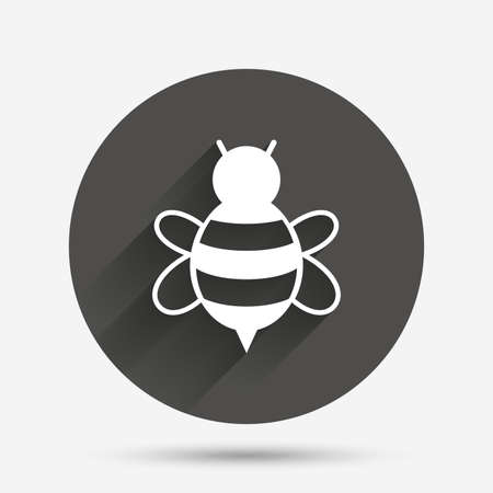 Bee sign icon. Honeybee or apis with wings symbol. Flying insect. Circle flat button with shadow. Vector