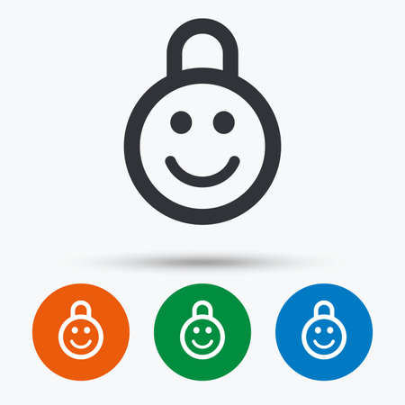 Child lock icon. Locker with smile symbol. Child protection. Round circle buttons with icon. Vector Foto de archivo - 111101747