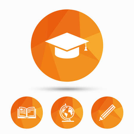 Pencil and open book icons. Graduation cap and geography globe symbols. Education learn signs. Triangular low poly buttons with shadow. Vector Ilustração
