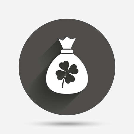clover button: Money bag with Clover sign icon. Saint Patrick symbol. Circle flat button with shadow. Vector Illustration