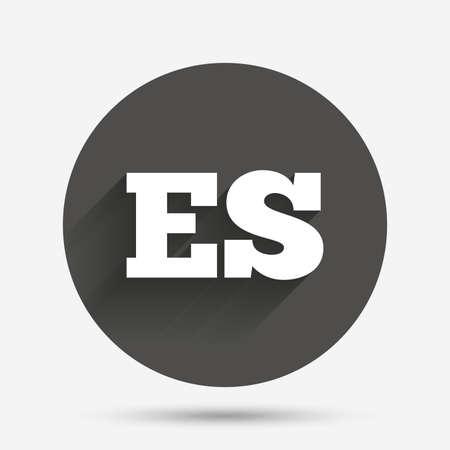 es: Spanish language sign icon. ES translation symbol. Circle flat button with shadow. Vector Illustration