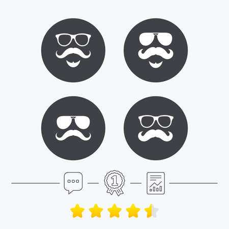 facial hair: Mustache and Glasses icons. Hipster with beard symbols. Facial hair signs. Chat, award medal and report linear icons. Star vote ranking. Vector Illustration