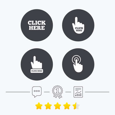 vote here: Click here icons. Hand cursor signs. Press here symbols. Chat, award medal and report linear icons. Star vote ranking. Vector