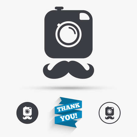 Hipster photo camera with mustache sign icon. Retro camera symbol. Flat icons. Buttons with icons. Thank you ribbon. Vector