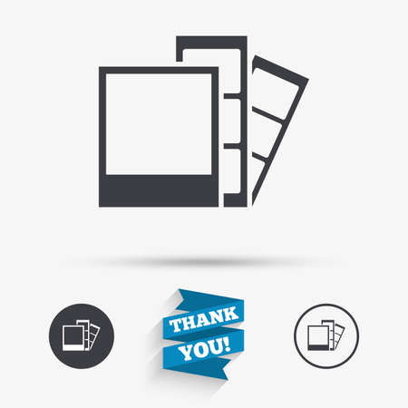 Photo frame template sign icon. Photo booth strips symbol. Flat icons. Buttons with icons. Thank you ribbon. Vector Illustration