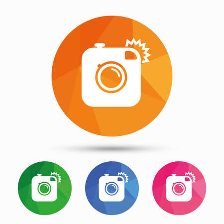 Hipster photo camera sign icon. Retro camera with flash symbol. Triangular low poly button with flat icon. Vector