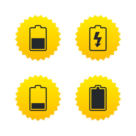 Battery charging icons. Electricity signs symbols. Charge levels: full, half and low. Yellow stars labels with flat icons. Vector