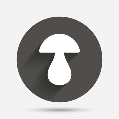 Mushroom sign icon. Boletus mushroom symbol. Circle flat button with shadow. Vector