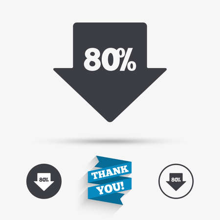 you are special: 80% sale arrow tag sign icon. Discount symbol. Special offer label. Flat icons. Buttons with icons. Thank you ribbon. Vector