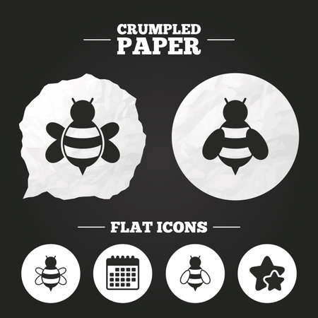 Crumpled paper speech bubble. Honey bees icons. Bumblebees symbols. Flying insects with sting signs. Paper button. Vector Ilustração