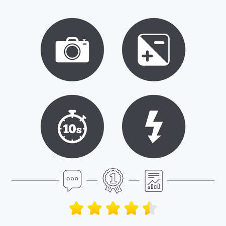 Photo camera icon. Flash light and exposure symbols. Stopwatch timer 10 seconds sign. Chat, award medal and report linear icons. Star vote ranking. Vector Illustration