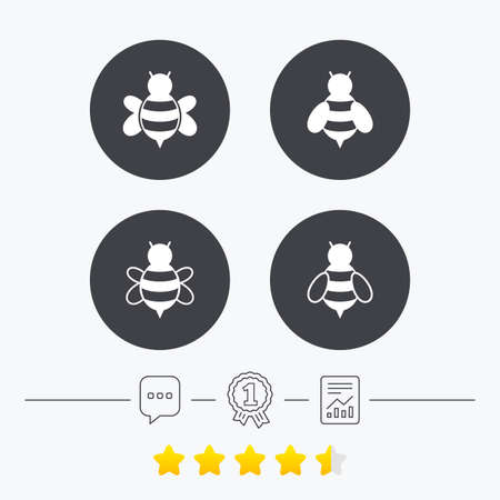 sting: Honey bees icons. Bumblebees symbols. Flying insects with sting signs. Chat, award medal and report linear icons. Star vote ranking. Vector