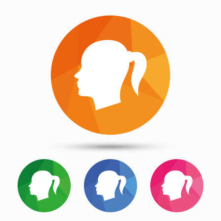 pigtail: Head sign icon. Female woman human head with pigtail symbol. Triangular low poly button with flat icon. Vector