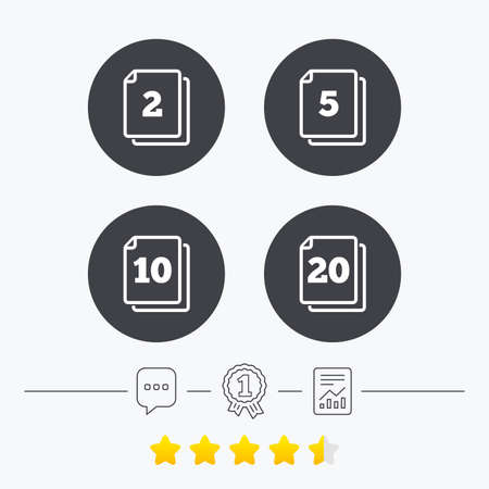 2 5: In pack sheets icons. Quantity per package symbols. 2, 5, 10 and 20 paper units in the pack signs. Chat, award medal and report linear icons. Star vote ranking. Vector
