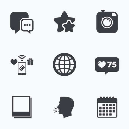 Social media icons. Chat speech bubble and world globe symbols. Hipster photo camera sign. Polaroid photo frames. Flat talking head, calendar icons. Stars, like counter icons. Vector