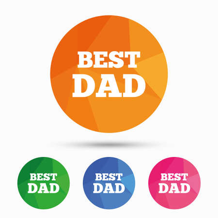 Best father sign icon. Award symbol. Triangular low poly button with flat icon. Vector Reklamní fotografie - 111101800